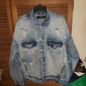Represent distressed denim jacket